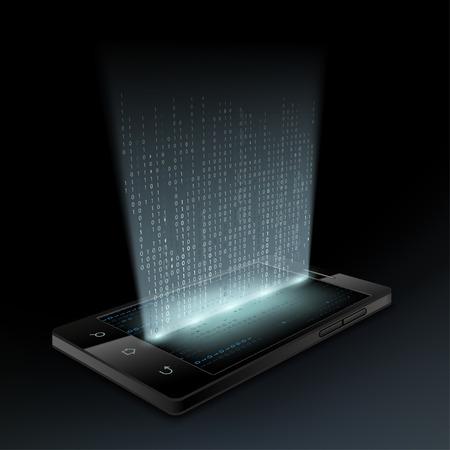 Smartphone mit einem Hologrammbildschirm. Technologie Hintergrund.