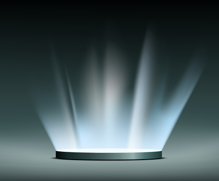 Round pedestal. Rays of light Hologram.