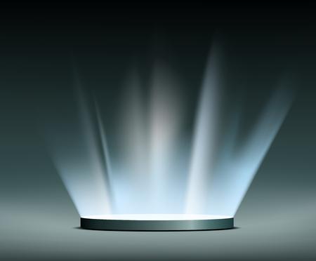 Round pedestal. Rays of light Hologram.