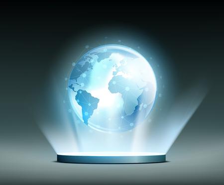 global network: Planet Earth. Global network Hologram.