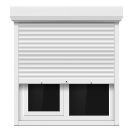 plastic window: Shutters and plastic window isolated on white background. Illustration