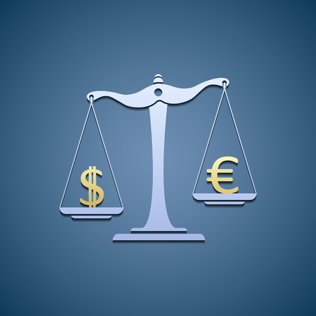 money exchange: Scales with dollar and euro. Illustration