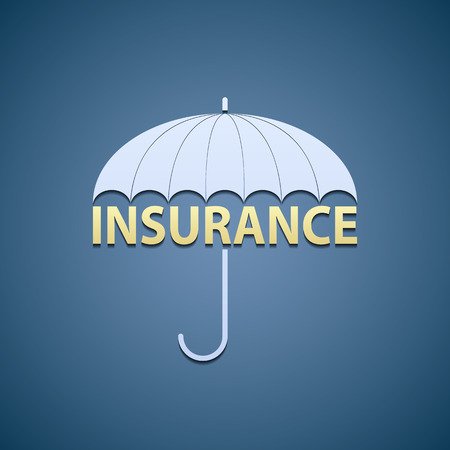 weatherproof: the umbrella and the word insurance. Illustration