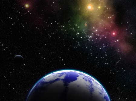 barren: Exoplanets in outer space. Stock Photo