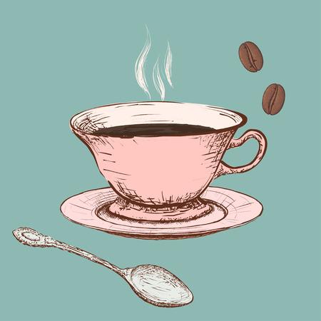 cuchara: Taza de café. Vectores