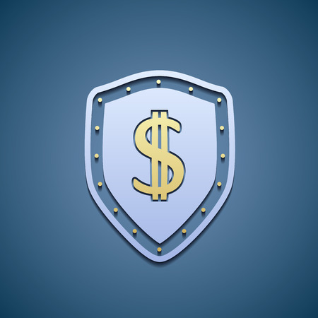 credit crisis: Dollar sign on a shield.