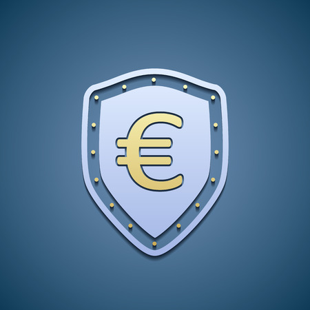 euro sign: Euro sign on a shield.