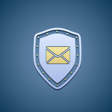 shield: Icon of shield with envelope.