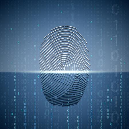data theft: Scanning a fingerprint.