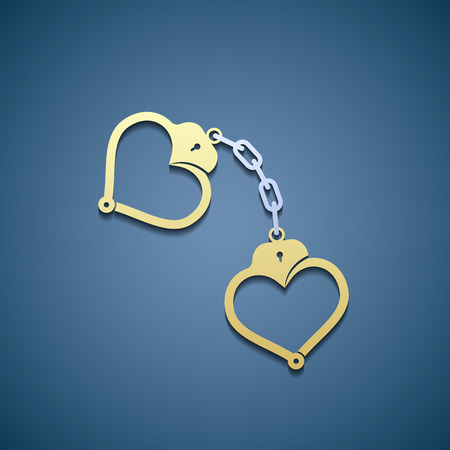 woman handcuffs: Icon of handcuffs in the form of heart. Illustration