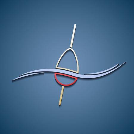 fishing float: Icon of fishing float. Illustration