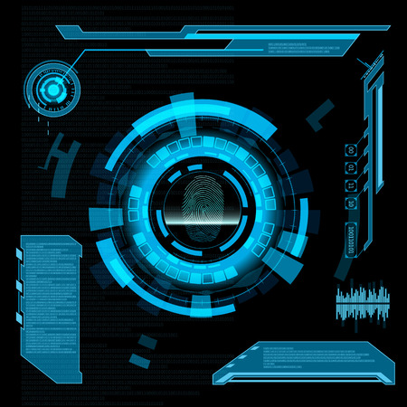 web page: Scanning fingerprint. Interface HUD. Abstract background.