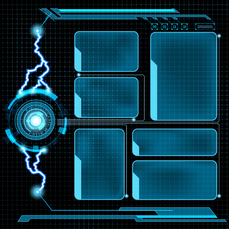 Futuristic user menu interface HUD. Abstract background.