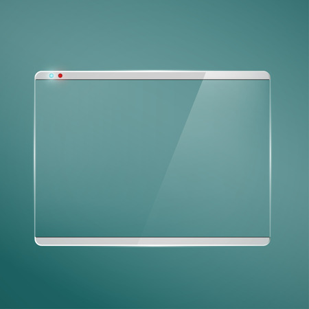 flat panel monitor: Transparent glass futuristic screen.