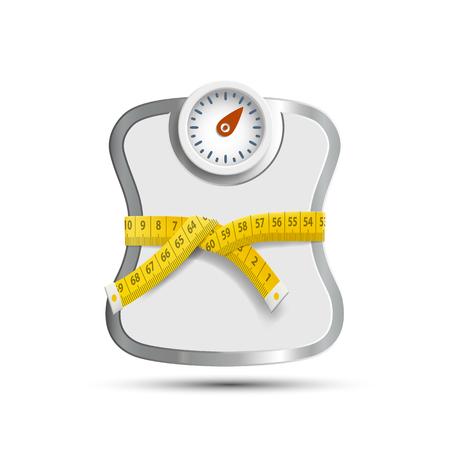 Bilancia per pesare con nastro di misurazione.