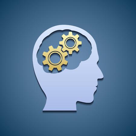 robot head: Human head with gears.