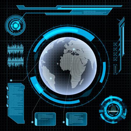 미래의 사용자 인터페이스 HUD. 추상적 인 배경에 지구.