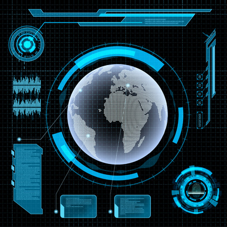 Futuristic user interface HUD. Earth on Abstract background. Illustration