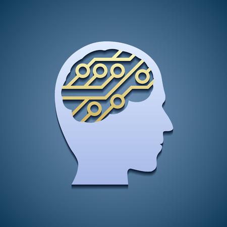 cerebro humano: Cabeza humana con el circuito.
