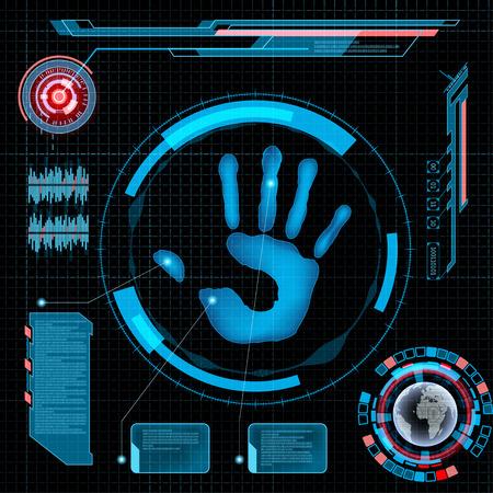 人間の手のひらをスキャンします。HUD のインターフェイスです。技術の背景。  イラスト・ベクター素材