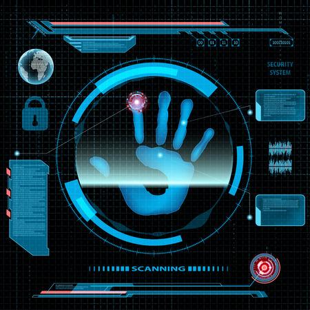 hologram: Scanning human palm. Interface HUD. Technology background. Illustration