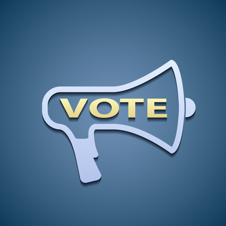 vote: megaphone with Vote icon