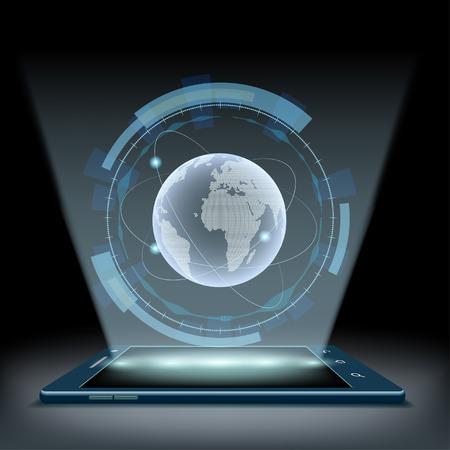 Smartphone con un ologramma Pianeta Terra. Interfaccia utente futuristico HUD.