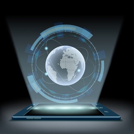 hologram: Smartphone with a hologram Planet Earth. Futuristic user interface HUD.