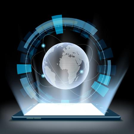 Smartphone con un holograma de la tierra del planeta. interfaz de usuario futurista HUD. Ilustración de vector