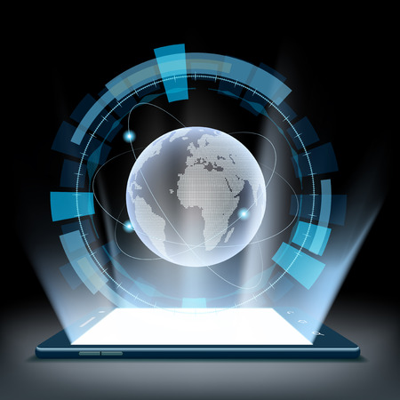 tecnolog�a informatica: Smartphone con un holograma de la tierra del planeta. interfaz de usuario futurista HUD. Vectores