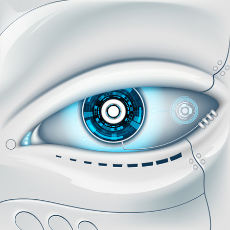 contact lens: Eye of the robot. Futuristic HUD interface Illustration