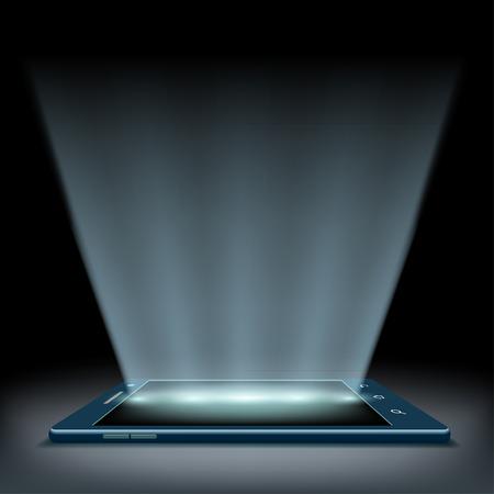 hologram: Smartphone with a hologram screen. Illustration