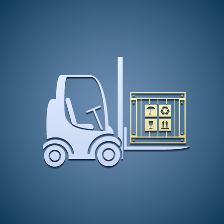 packer: Warehouse forklifts with cargo box. Illustration