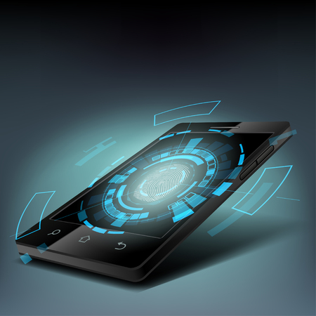 input device: Fingerprint scanning on the screen smartphone. Illustration