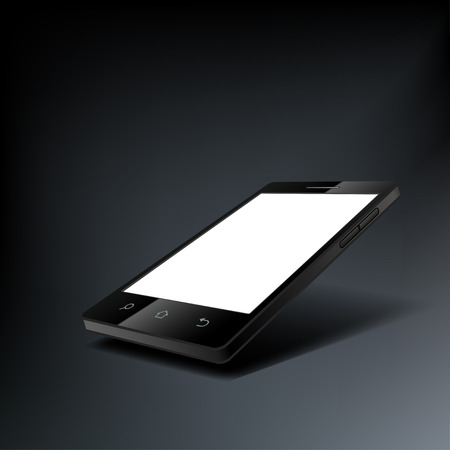 touch screen phone: Modern black touch screen cell phone tablet smartphone with a white screen.