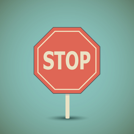 octagonal: Octagonal prohibiting pointer. Road stop sign.