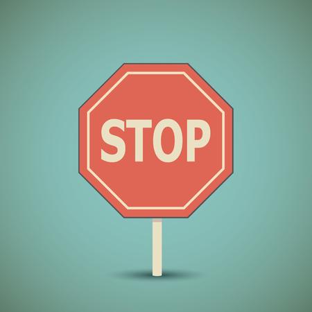 octogonal: puntero que prohíbe octogonal. Carretera señal de stop.