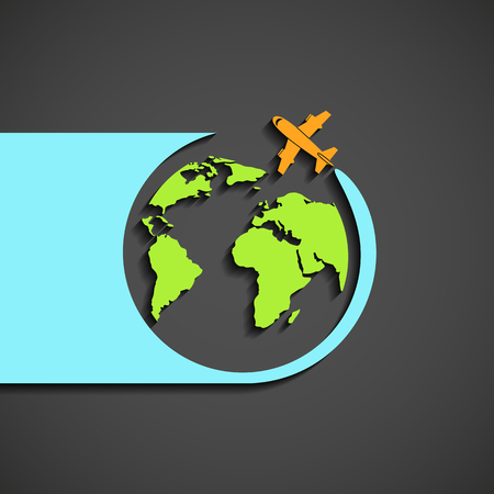 air plane: Plane flies round the planet earth. Flat graphic. Stock vector illustration.