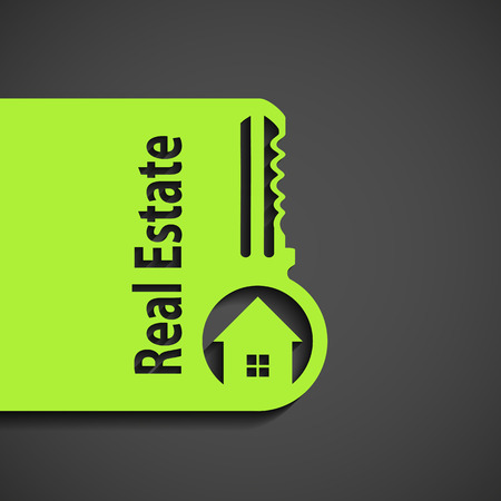 home owner: Icon Real Estate. Flat graphic. Stock vector illustration.