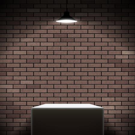 Pedestal illuminated spotlight on the brick wall background. Stock vector illustration.