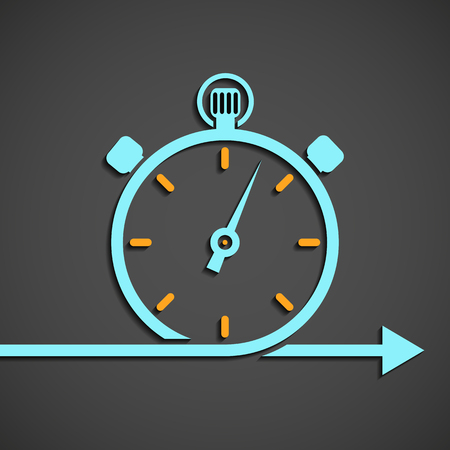 chronometer: Icon stopwatch. The emblem of the chronometer. Flat graphic. Stock vector illustration. Illustration