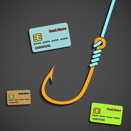 criminals: Fishhook and bank cards. Flat graphic. Stock vector illustration.