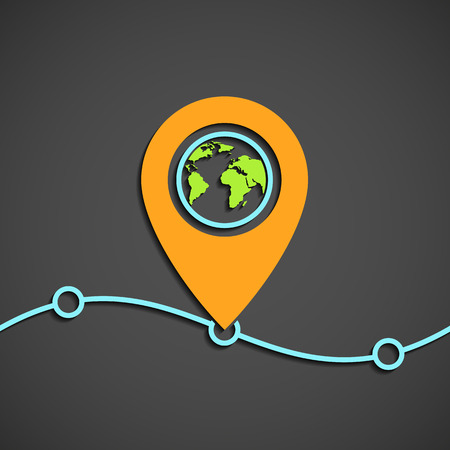 pointer: Icon pointer on the map. Stock vector illustration.