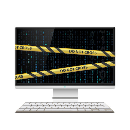 warning tape: Cybercrime. Computer monitor with warning tape. Stock vector illustration.