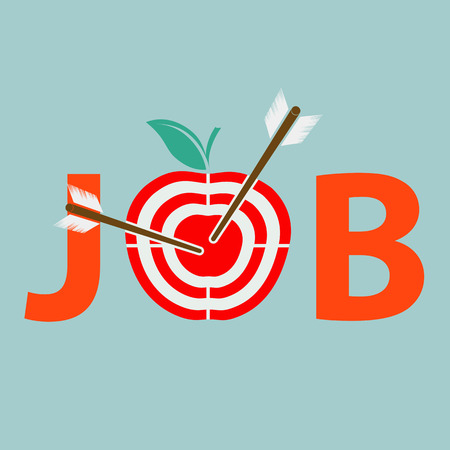 archery: Job search. Archery and target apple. Stock vector illustration.