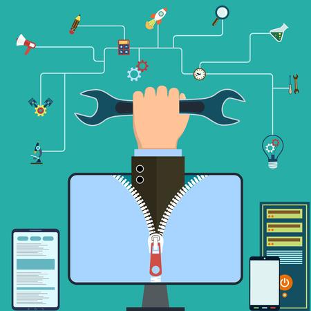 icono computadora: La mano del hombre con una llave. Soporte t�cnico. gr�fico plana. Ilustraci�n vectorial material.