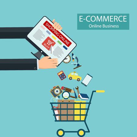 compras: El comercio electrónico. Compra en línea. Equipo y bienes en el carrito de compras. Ilustración vectorial material. Vectores