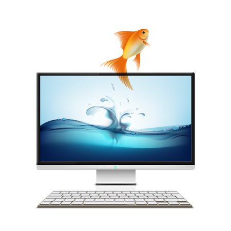 goldfish jump: Computer monitor and goldfish. Screensaver. Isolated on white background. Stock vector illustration.