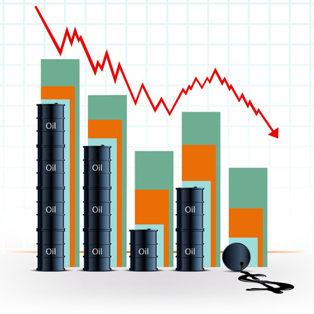 price: price of oil. Barrels with fuel and financial chart. Stock vector illustration.