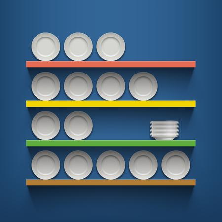 apilar: Placas blancas están en los estantes. Ilustración vectorial material.
